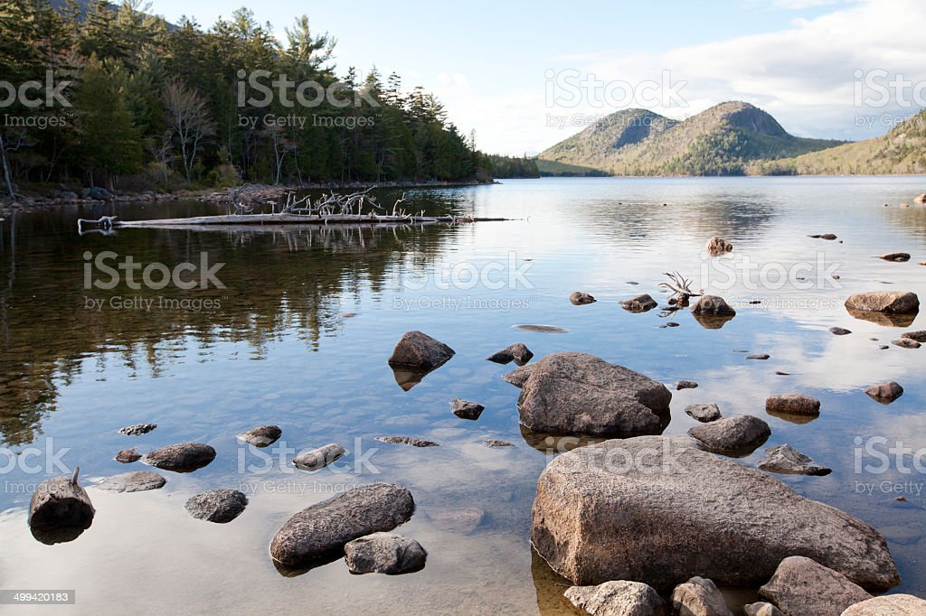 Jordan pond in Acadia National Park at Maine stock photo