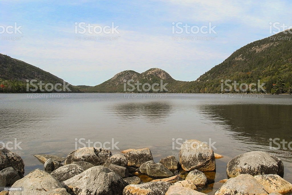 Jordan Pond in Acadia National Park, Maine, United States stock photo