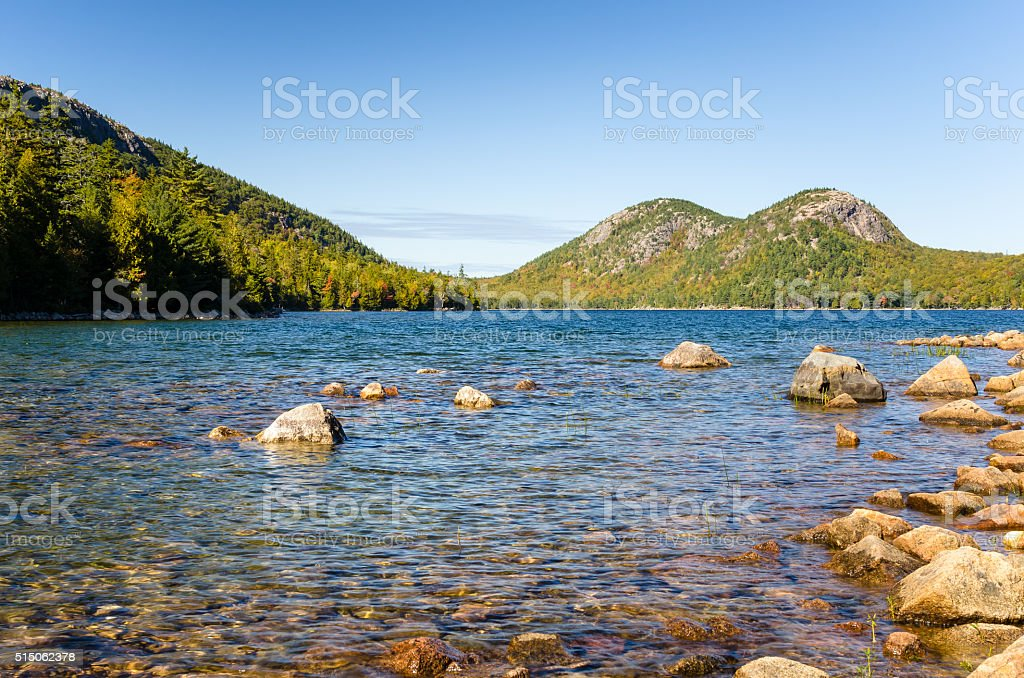 Jordan Pond in Acadia National Park stock photo