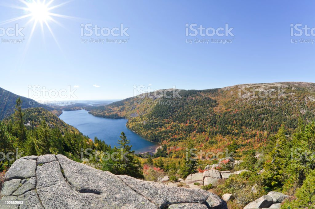 Jordan Pond in Autumn from above, Acadia National Park stock photo