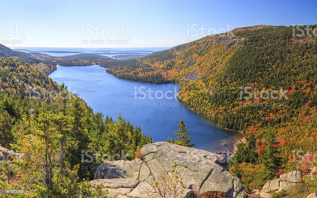 Jordan Pond in Autumn panorama, Acadia National Park royalty-free stock photo