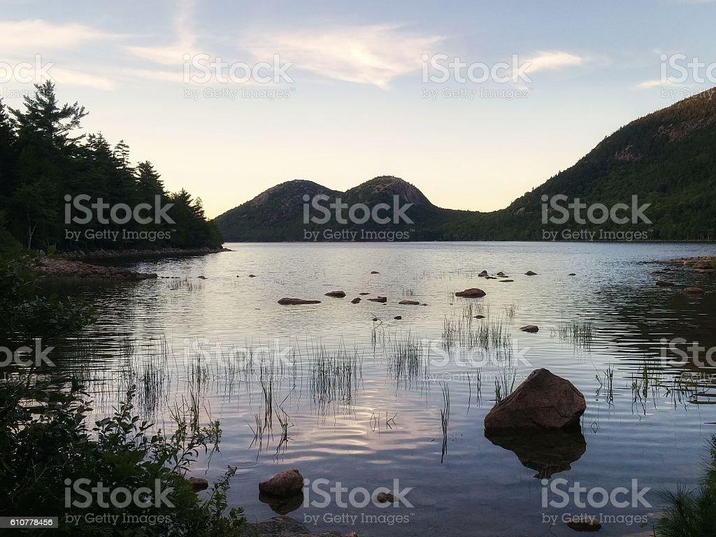 Jordan Pond The Bubbles Mountain Peaks, Acadia National Park, Maine stock photo