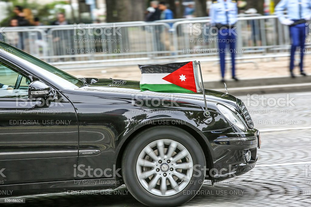 Jordanian Diplomatic car during Military parade stock photo