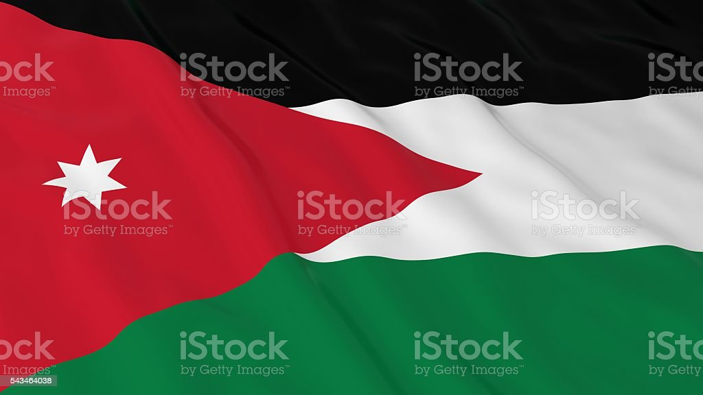 Jordanian Flag HD Background - Flag of Jordan 3D Illustration stock photo