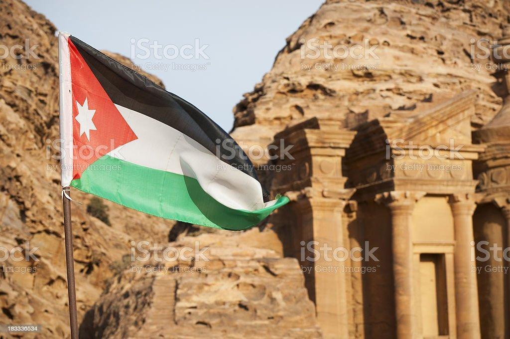 Jordanian flag in Petra, Jordan stock photo