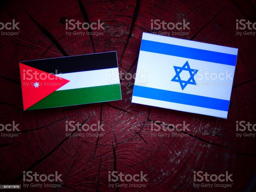 Jordanian flag with Israeli flag on a tree stump isolated stock photo
