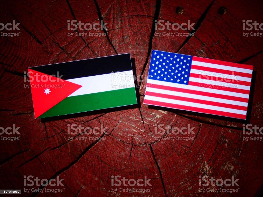 Jordanian flag with USA flag on a tree stump isolated stock photo