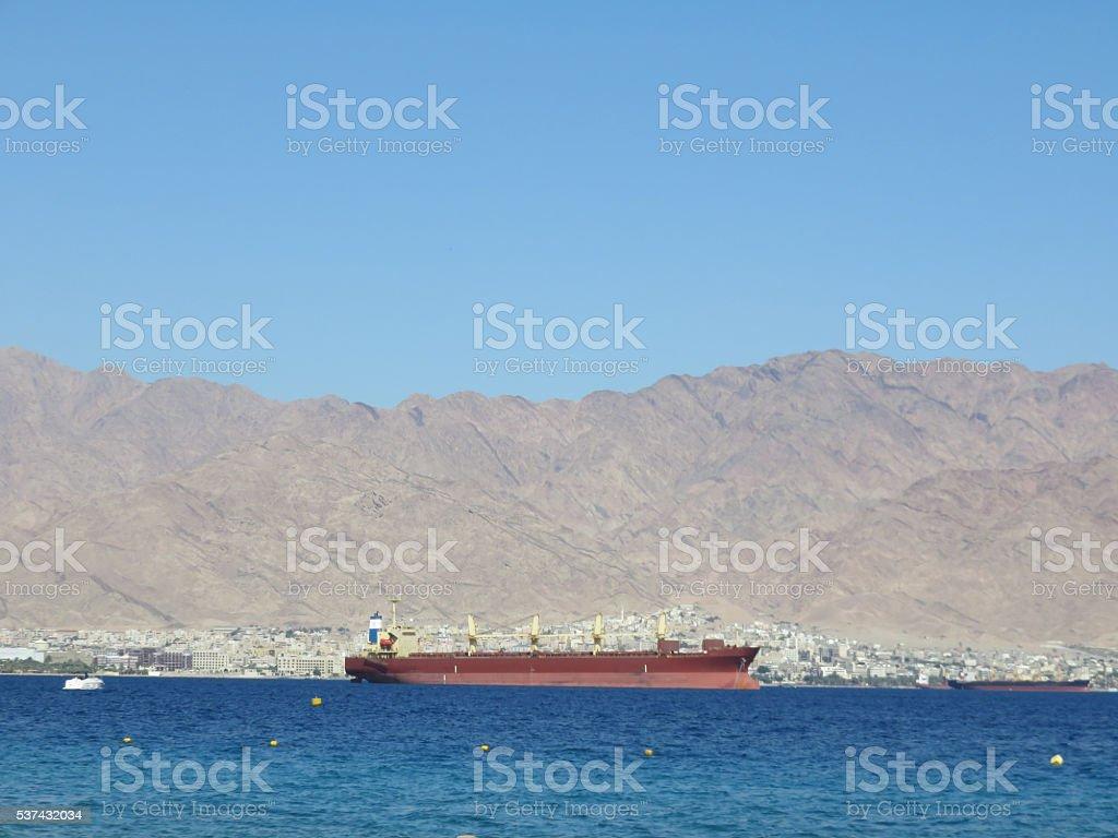 Jordanian port of Aqaba stock photo
