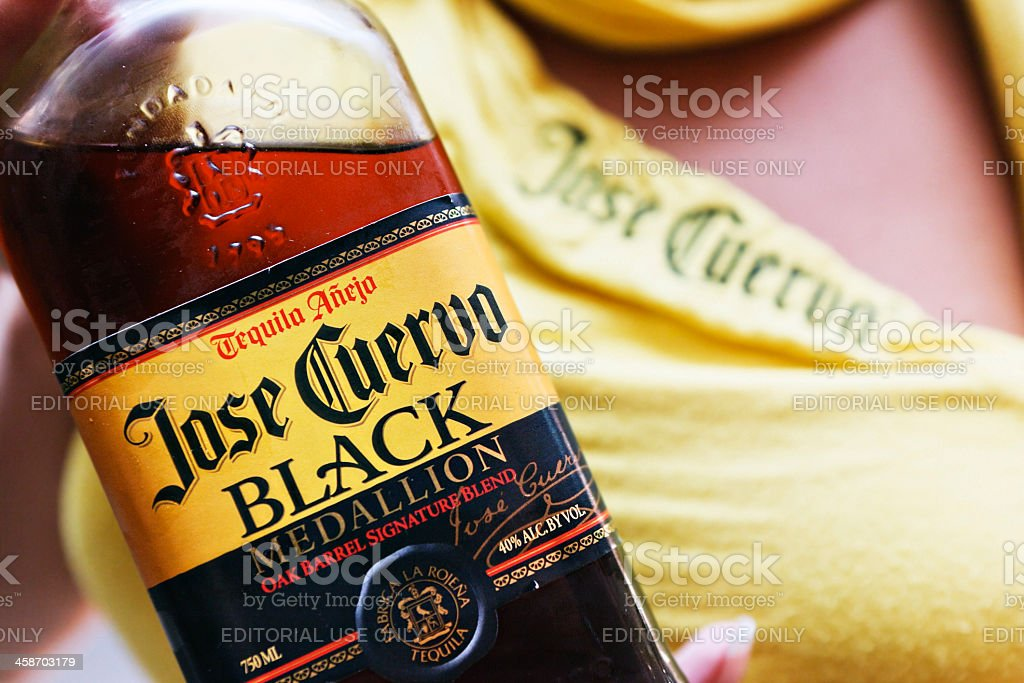 Jose Cuervo Black tequila being promtoe at a function stock photo