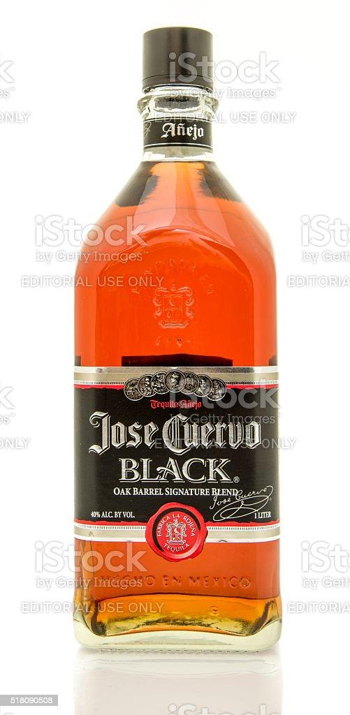 Jose Cuervo black tequila stock photo