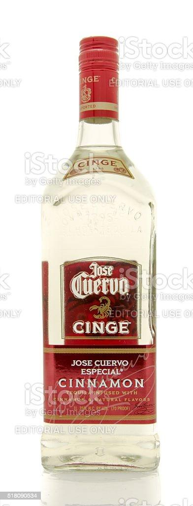 Jose Cuervo cinnamon tequila stock photo