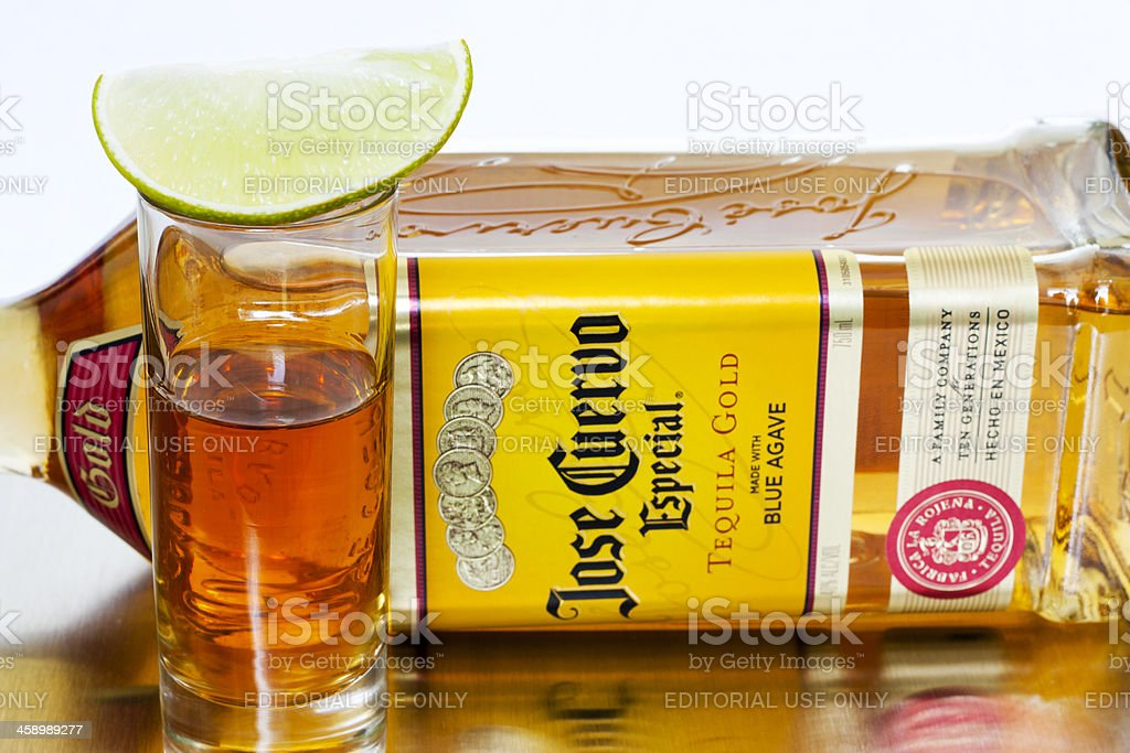 Jose Cuervo Especial Gold Tequila and Lime stock photo