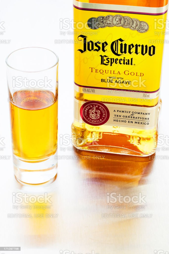 Jose Cuervo Especial Gold Tequila stock photo