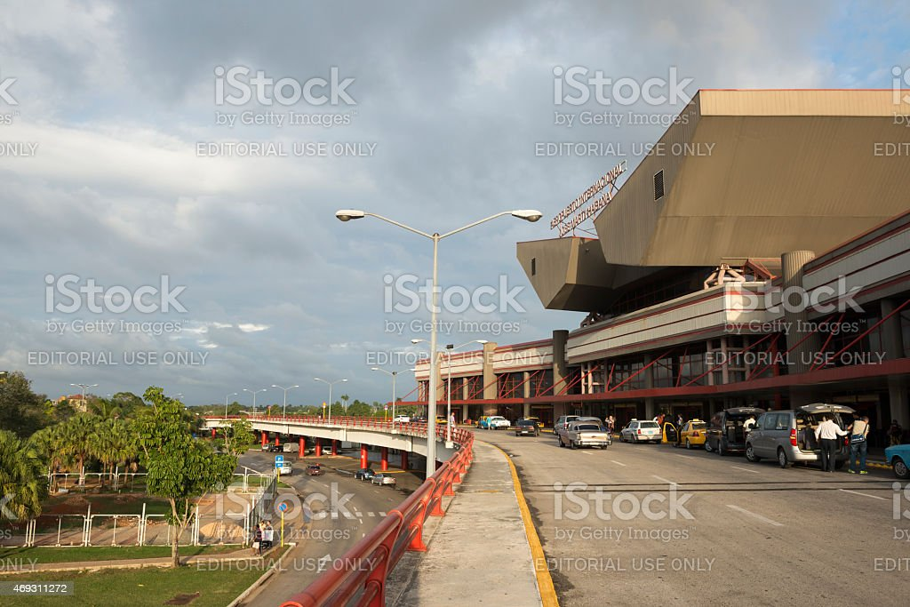 Jose Marti International airport drop-off zone in Havana, Cuba stock photo