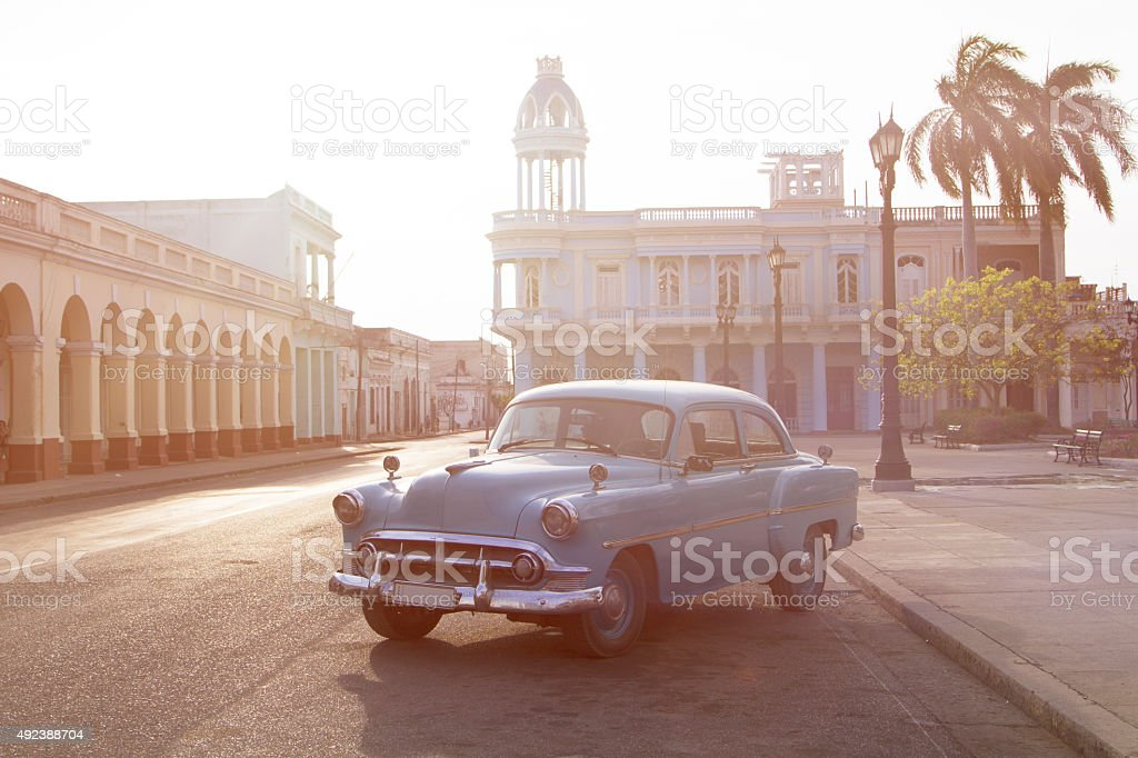 Jose Marti Square and Palacio Ferrer, Cienfuegos stock photo