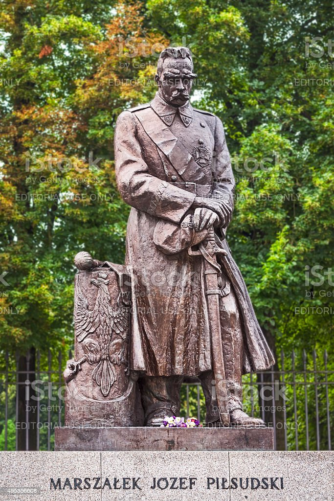 Josef Pilsudski Monument in Warsaw, Poland stock photo