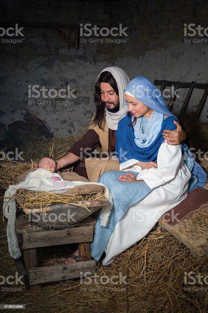 Joseph and Mary nativity scene stock photo