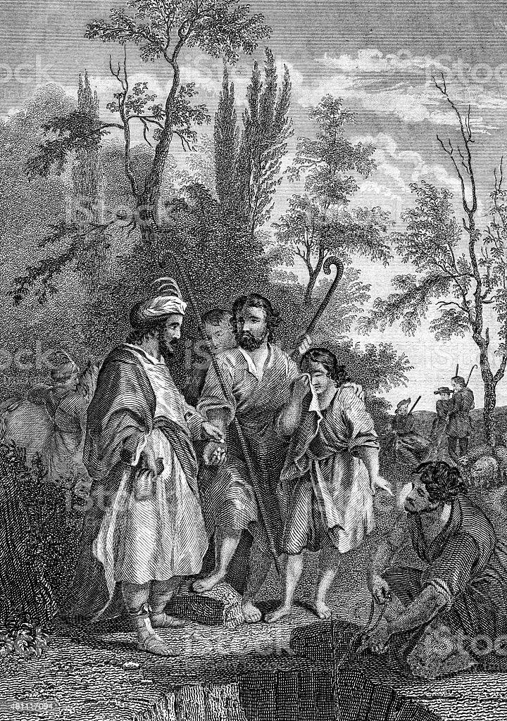 Joseph Being Sold Into Slavery stock photo