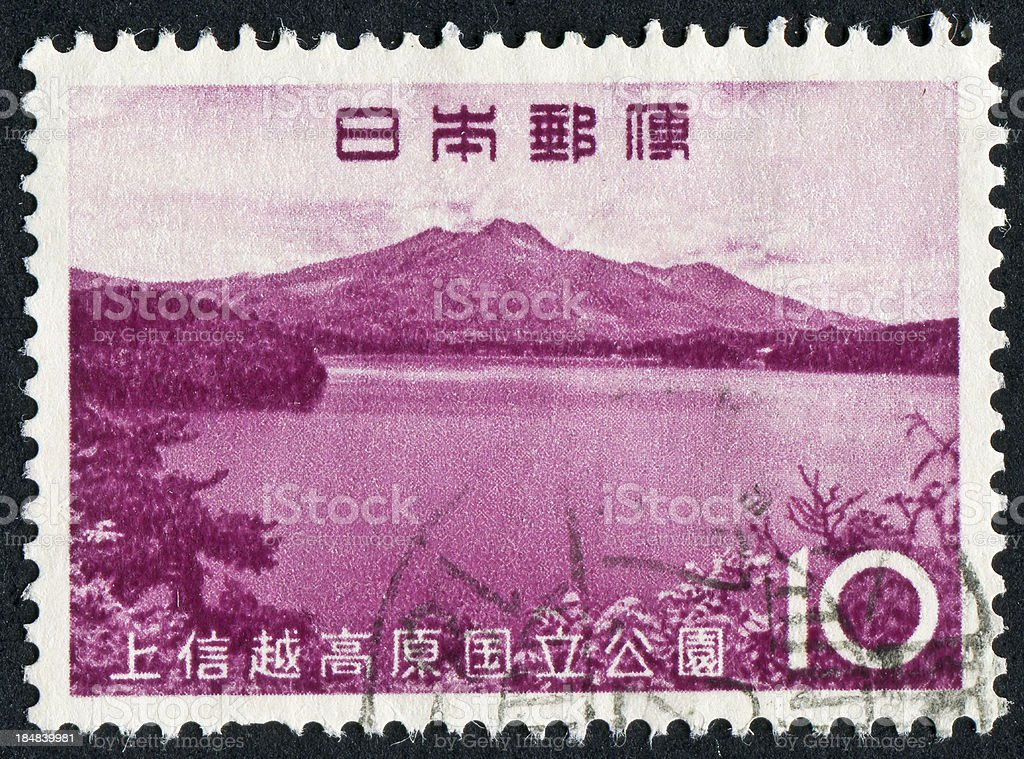 Joshinetsu Kogen National Park Stamp stock photo