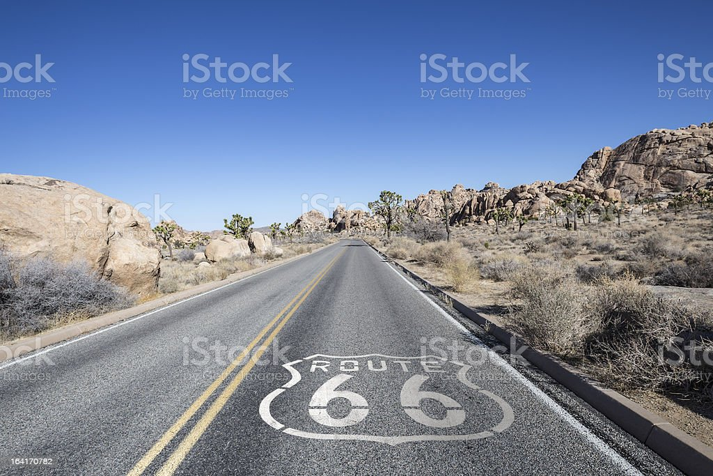 Joshua Tree Desert Highway with Route 66 Sign stock photo
