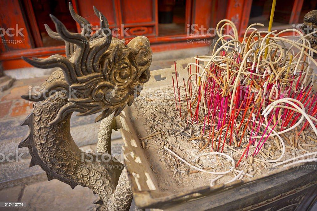 Joss stick pot of dragon style. stock photo