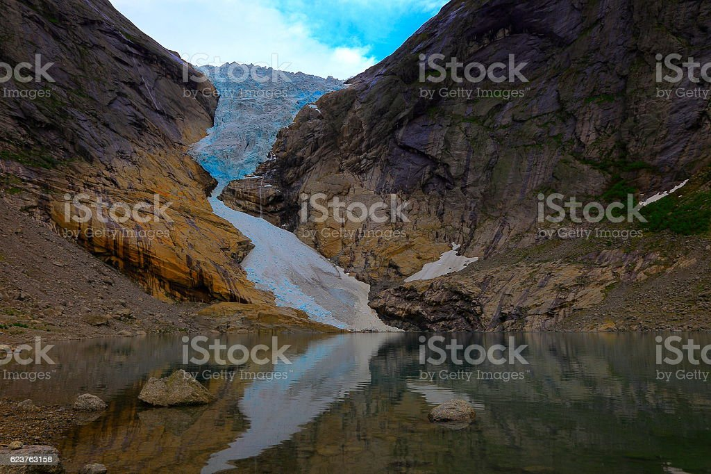 Jostedalsbreen paradise: Briksdal Glacier reflection sunset - Jostedal, Norway, Scandinavia stock photo