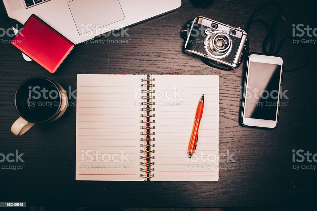 journaling your travel stock photo
