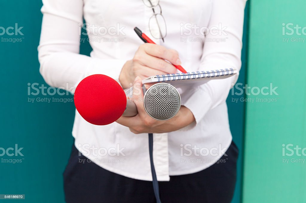 Journalist at media event. News conference. stock photo