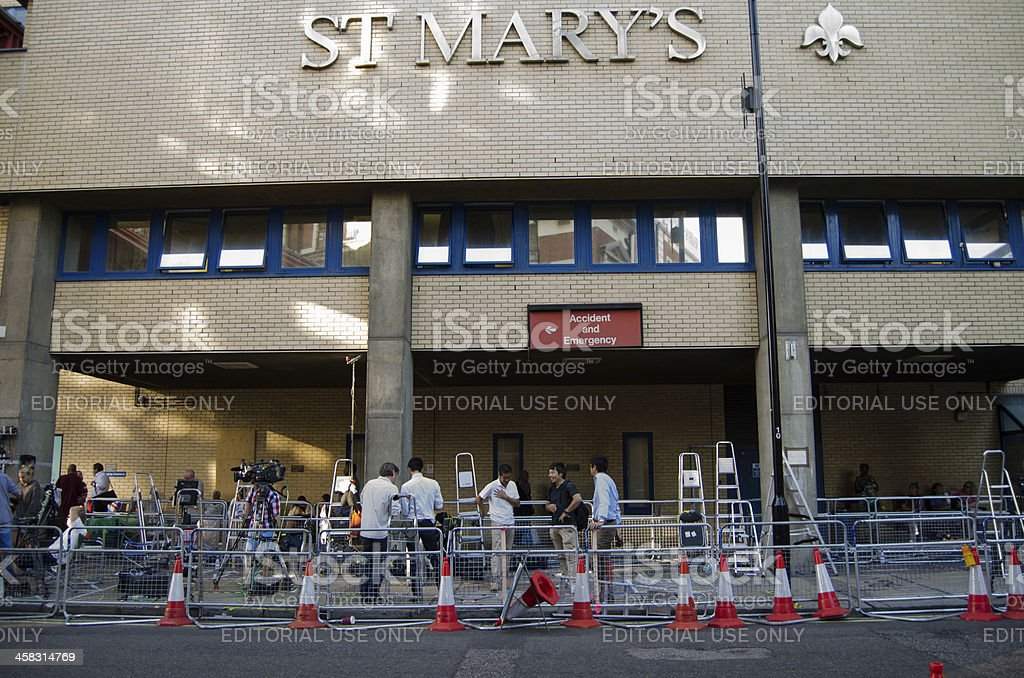 Journalists at St Mary's Hospital royalty-free stock photo