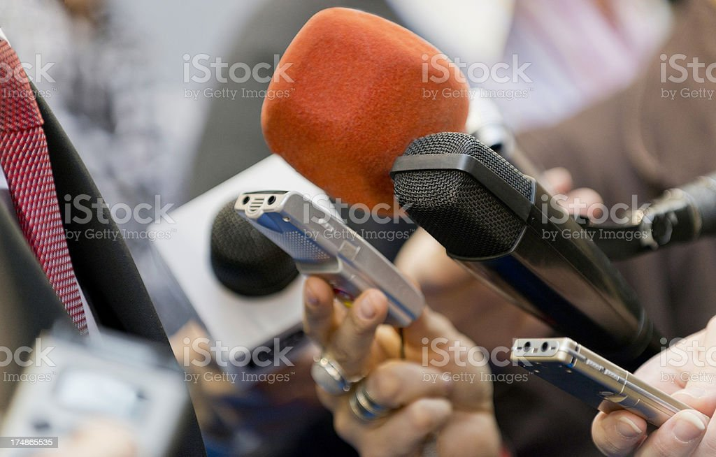 Journalists' microphones and recorders during an interview stock photo