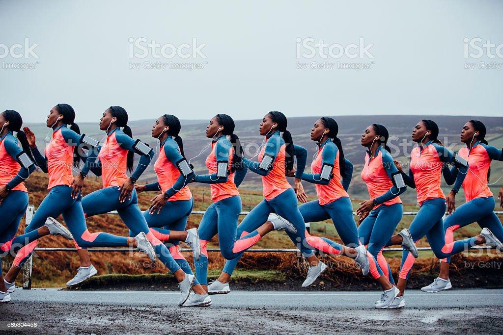 Journey of a Female Runner stock photo