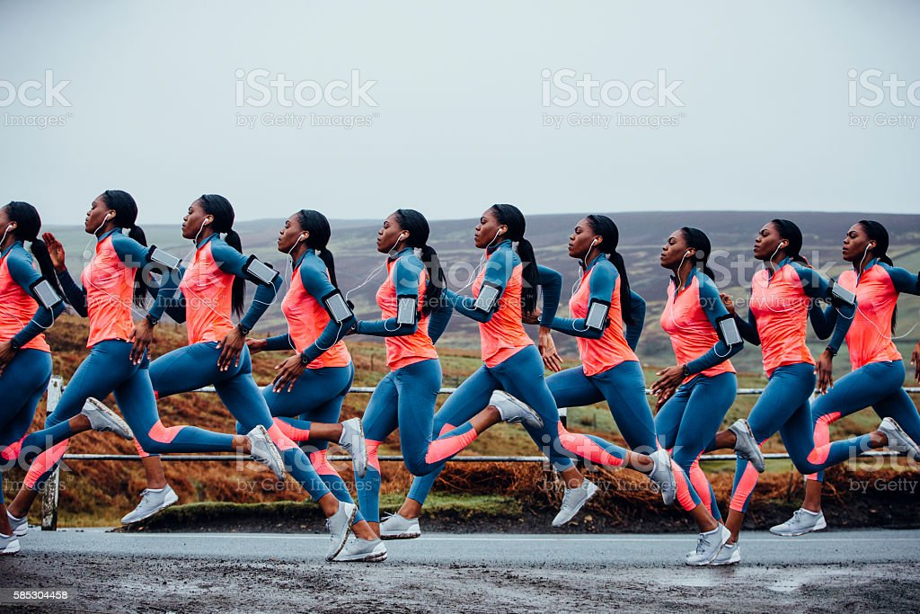 Journey of a Female Runner stock photo