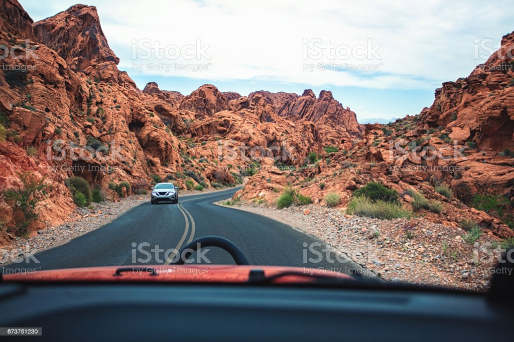 Journey through mountains stock photo