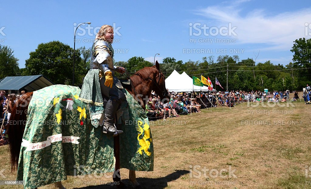 Jouster awaiting his sword royalty-free stock photo