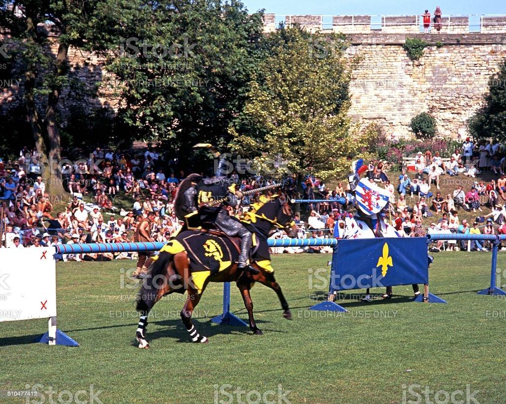 Jousting tournament, Lincoln. stock photo