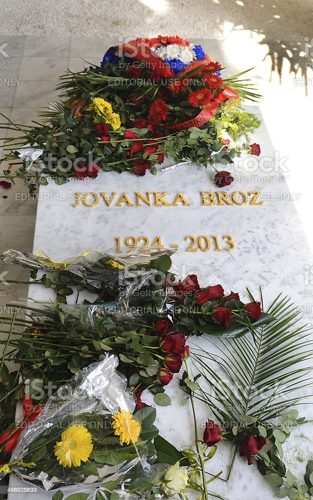 Jovanka Broz buried next to her husband Josip Tito stock photo