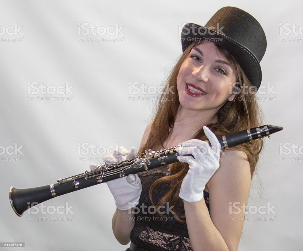 Jovial Female Adult Musician stock photo