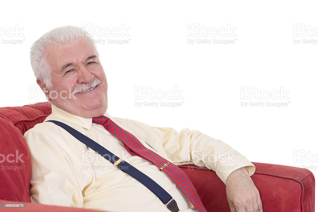 Jovial senior man with a lovely beaming smile royalty-free stock photo