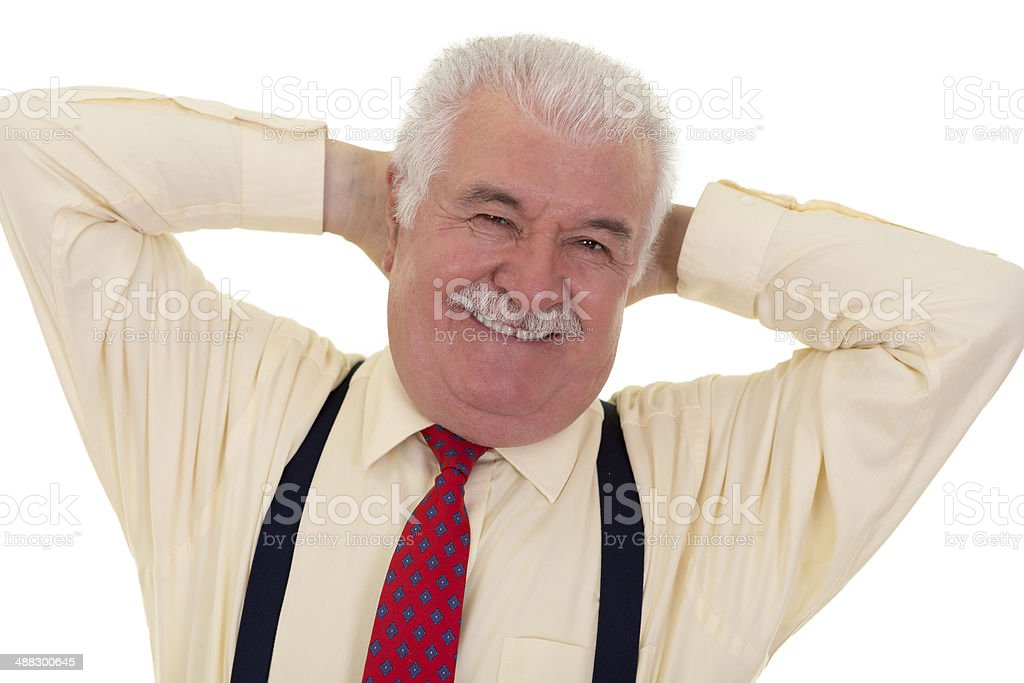 Jovial senior man with a moustache royalty-free stock photo