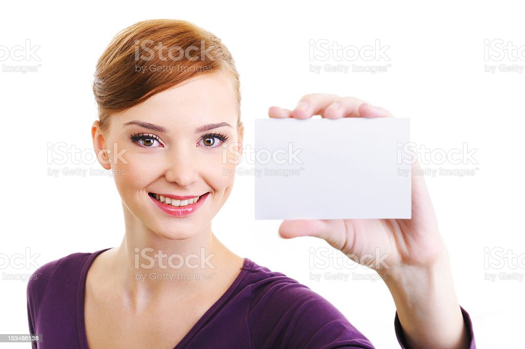 joy female person with blank white small card in hand stock photo
