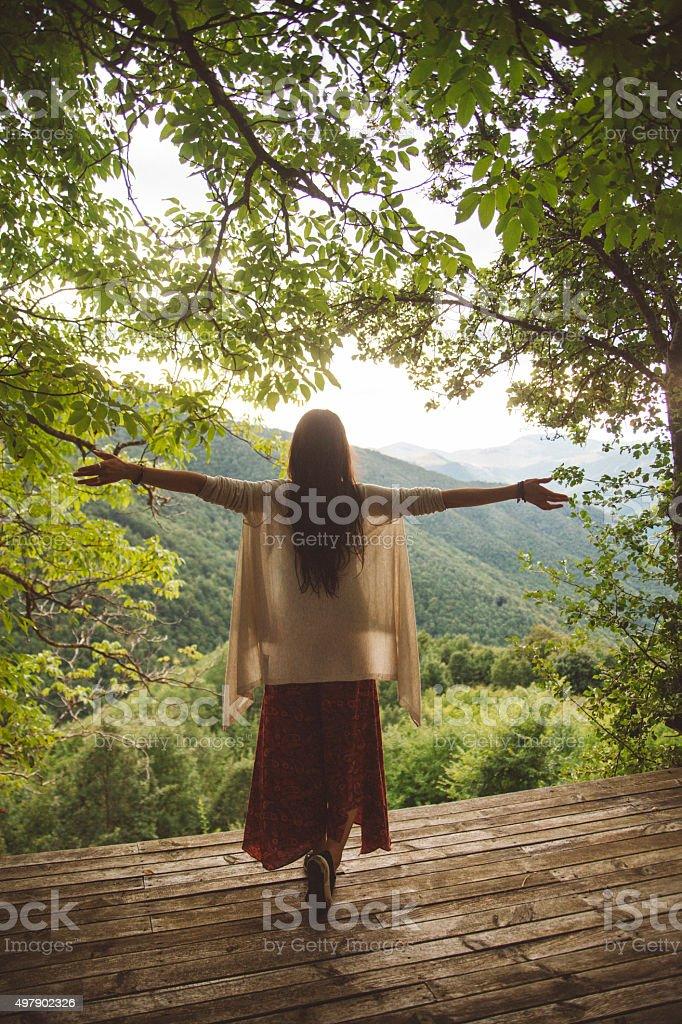 Joy in nature stock photo