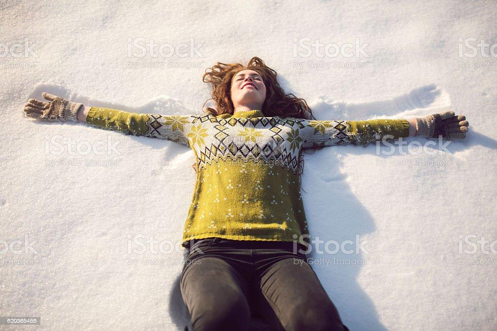 Joy in the snow stock photo