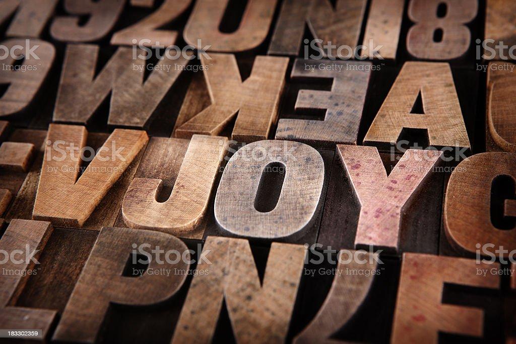 Joy - Letterpress letters stock photo
