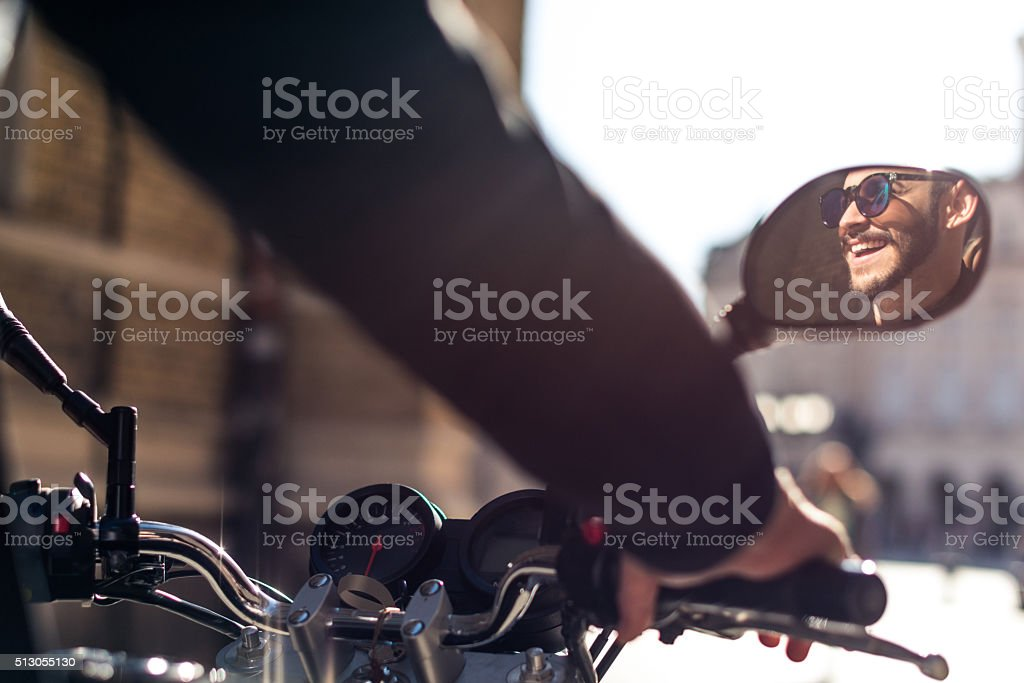 Joy of motorcycle riding stock photo
