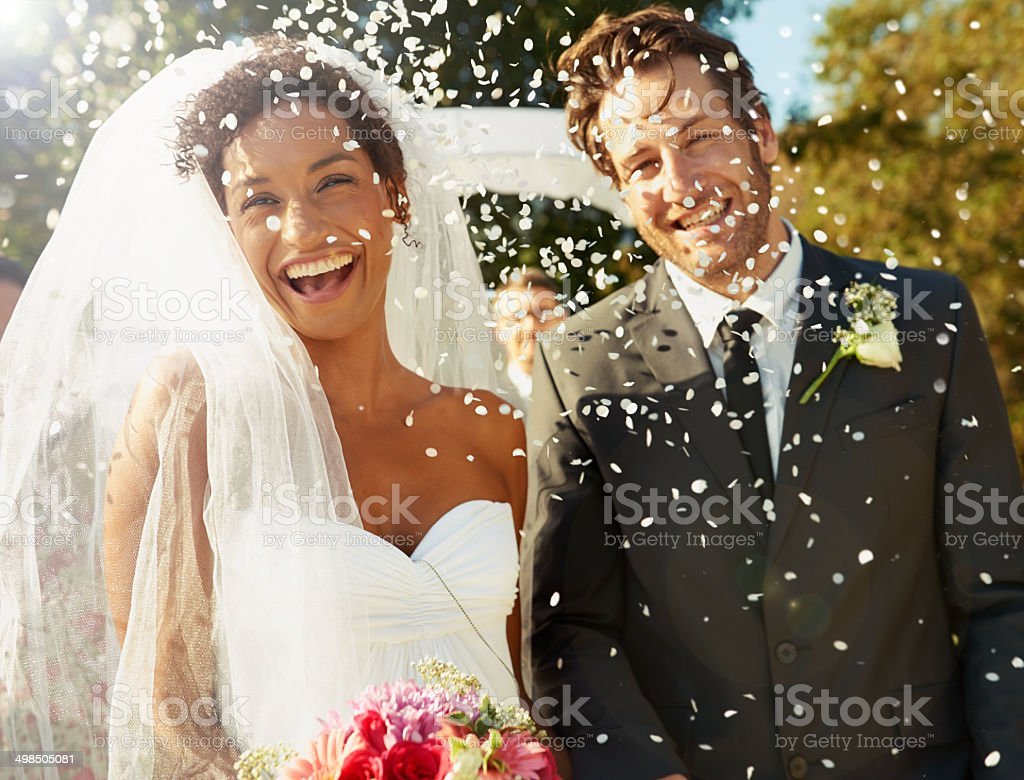 Joy rained down around them stock photo