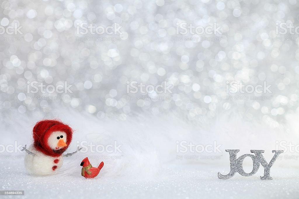 Joy snowman with Cardinal royalty-free stock photo