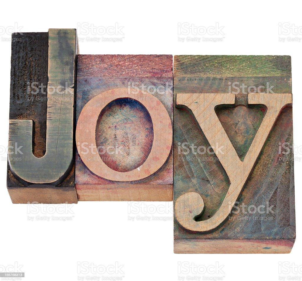 joy word in letterpress type stock photo