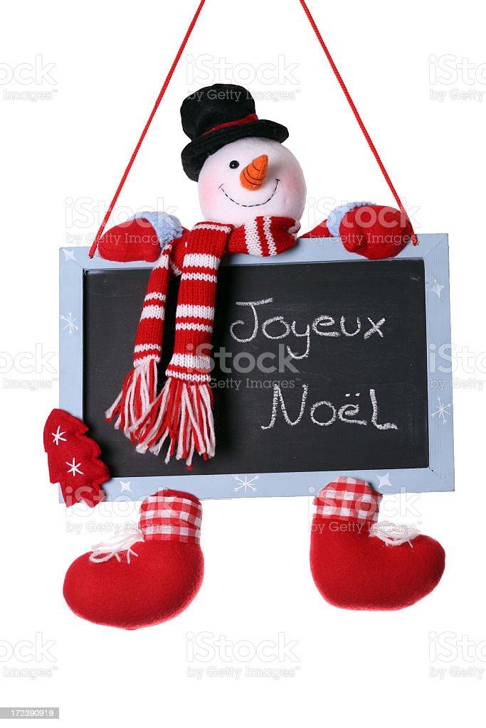 Joyeux Noel Written On Snowman Christmas Chalkboard royalty-free stock photo