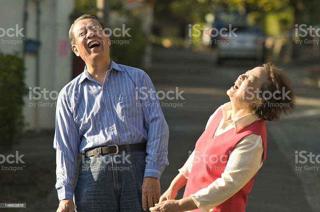 Joyful Asian senior couple royalty-free stock photo
