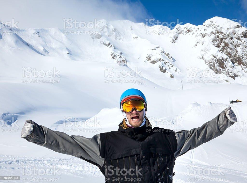 Joyful athlete Snowboarder stock photo